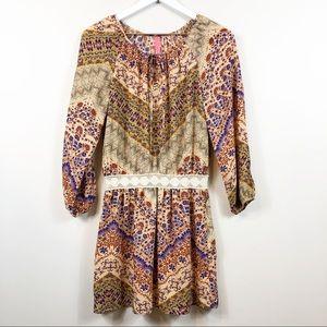 Eight Sixty Peasant Boho Crochet Waist Dress S